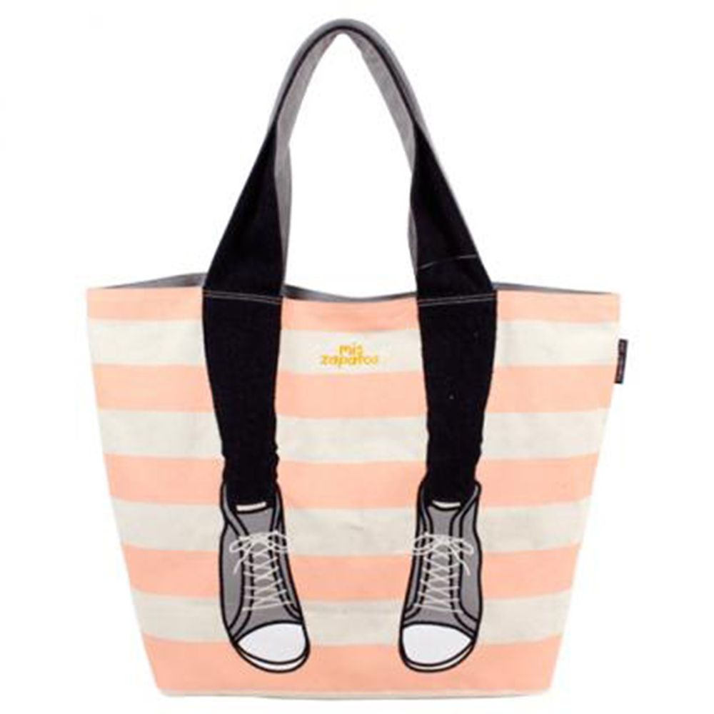 mis zapatos - 肩背托特美腿包(帆布)-條紋運動鞋-PI粉色 (21*30*15cm)