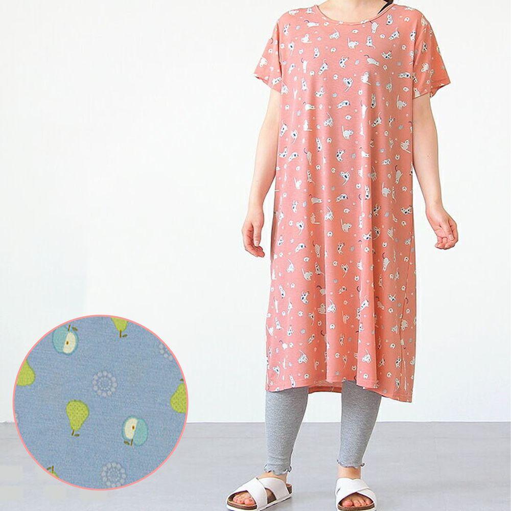 日本女裝代購 - DRY 涼爽快乾舒適家居短袖洋裝/睡衣-水果-藍 (M-L Free)