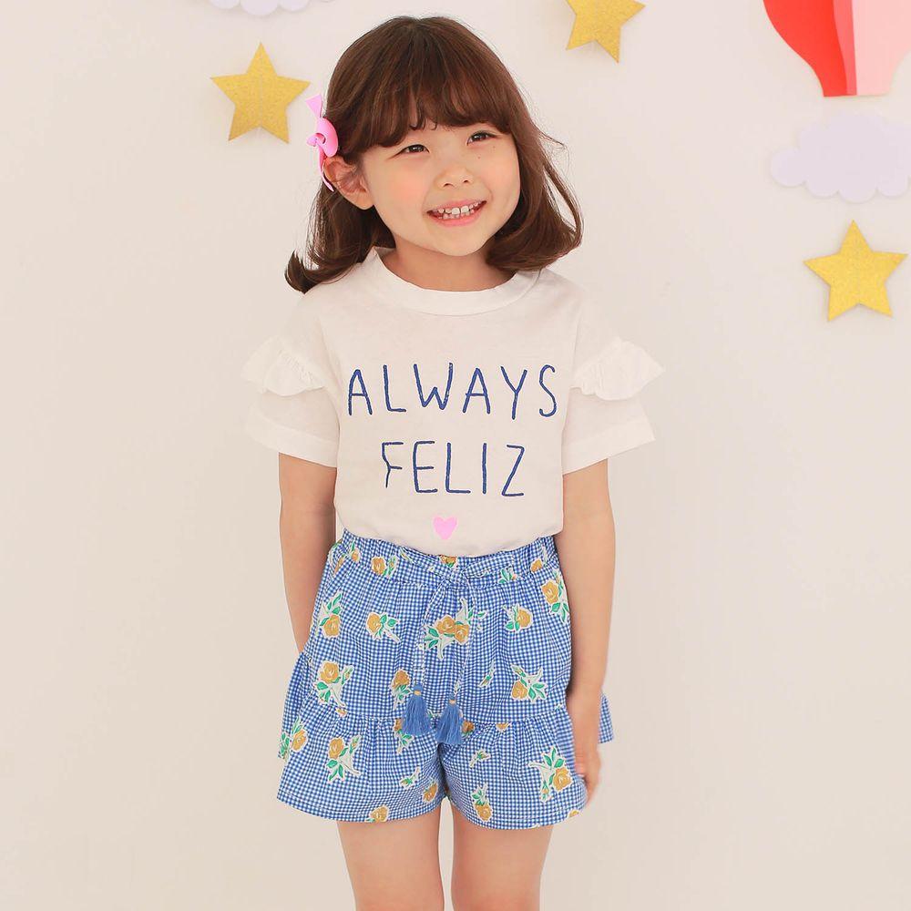 韓國 Dalla - 字母純棉T+格子花花褲裙套裝-白上衣+藍褲