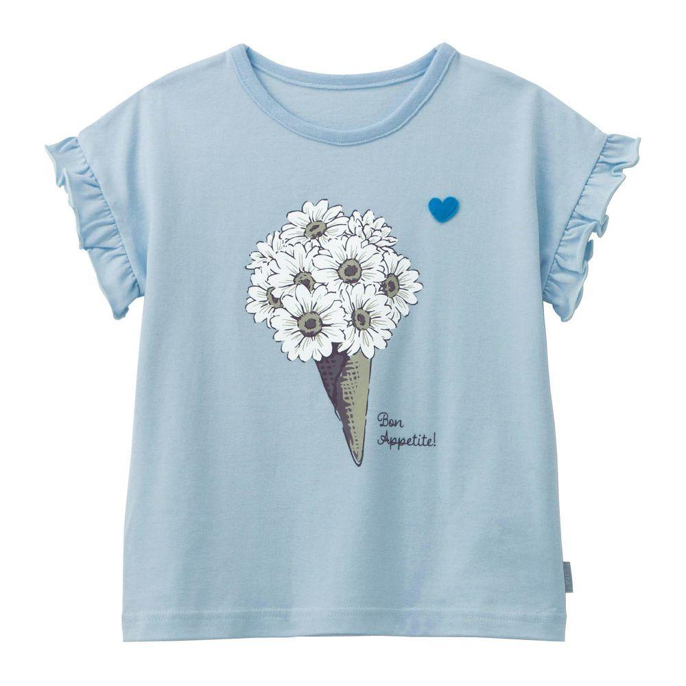 日本千趣會 - GITA 天竺棉印花短T-浪漫小白花束-水藍