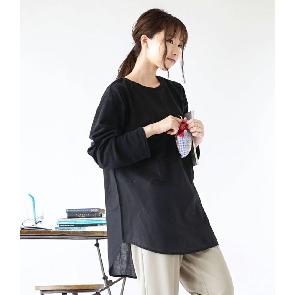 日本 zootie - 異材質拼接寬鬆薄長袖上衣-黑