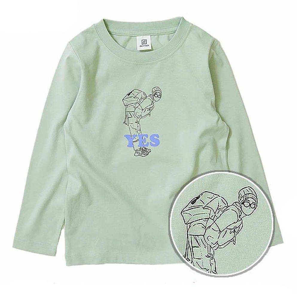 日本 devirock - 純棉 定番百搭印花長T-眼鏡少年-綠