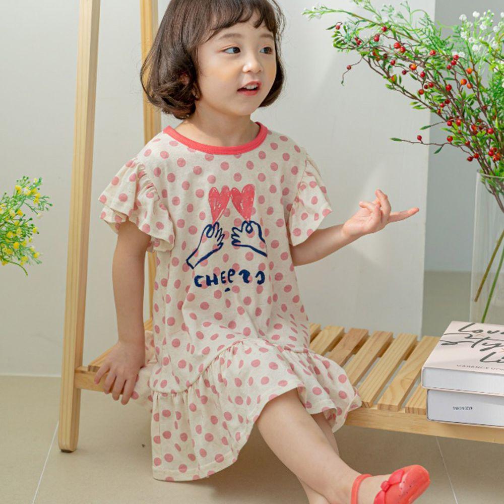 韓國 Orange Mom - 點點愛心手荷葉袖洋裝-粉紅