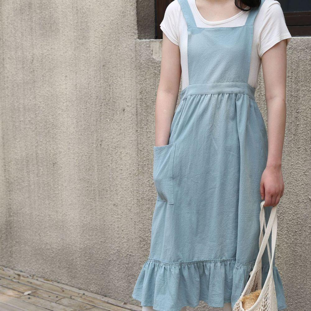 韓系荷葉裙擺花邊圍裙-淺藍色