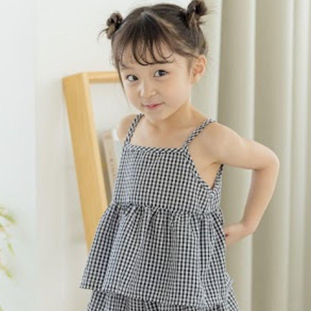 韓國 Orange Mom - 格子細肩帶上衣-黑