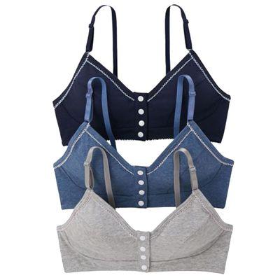混棉前開釦式可哺乳內衣3件組-深藍/水藍/灰色 (S(下胸65~70cm))