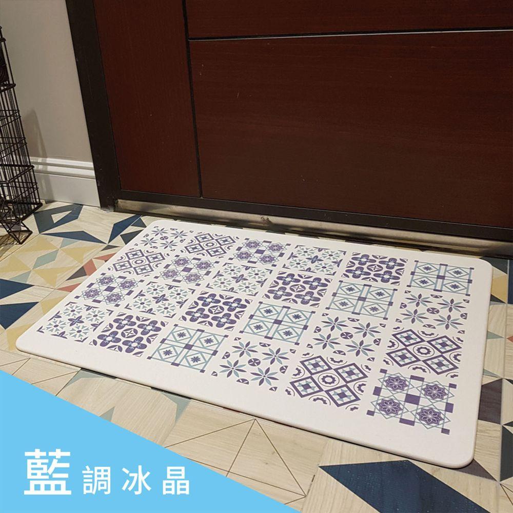 森呼吸 - 花磚印象超薄矽藻土/珪藻土地墊/1入組-日本板材-藍調冰晶 (XL+)-60x45x0.6cm