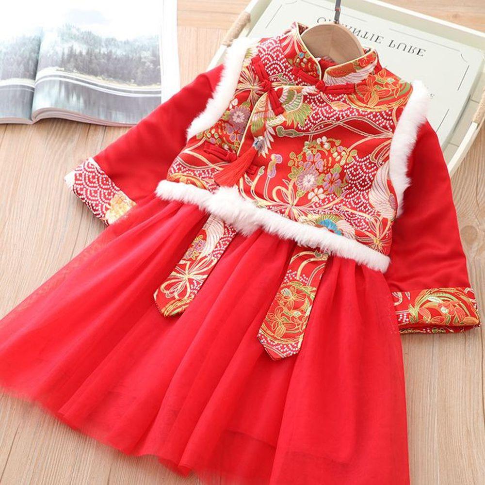 鳳舞背心唐裝紗裙-加厚款洋裝+背心-紅色