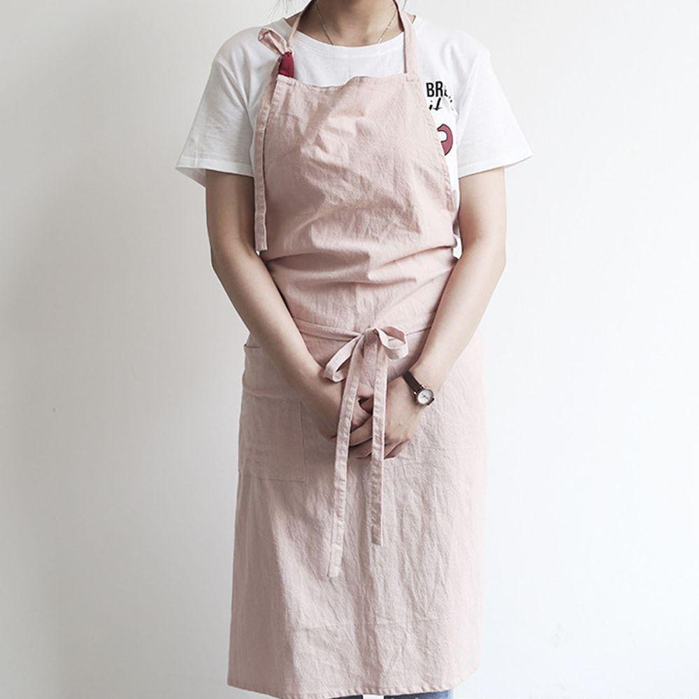 率性扣帶水洗棉麻圍裙-粉色