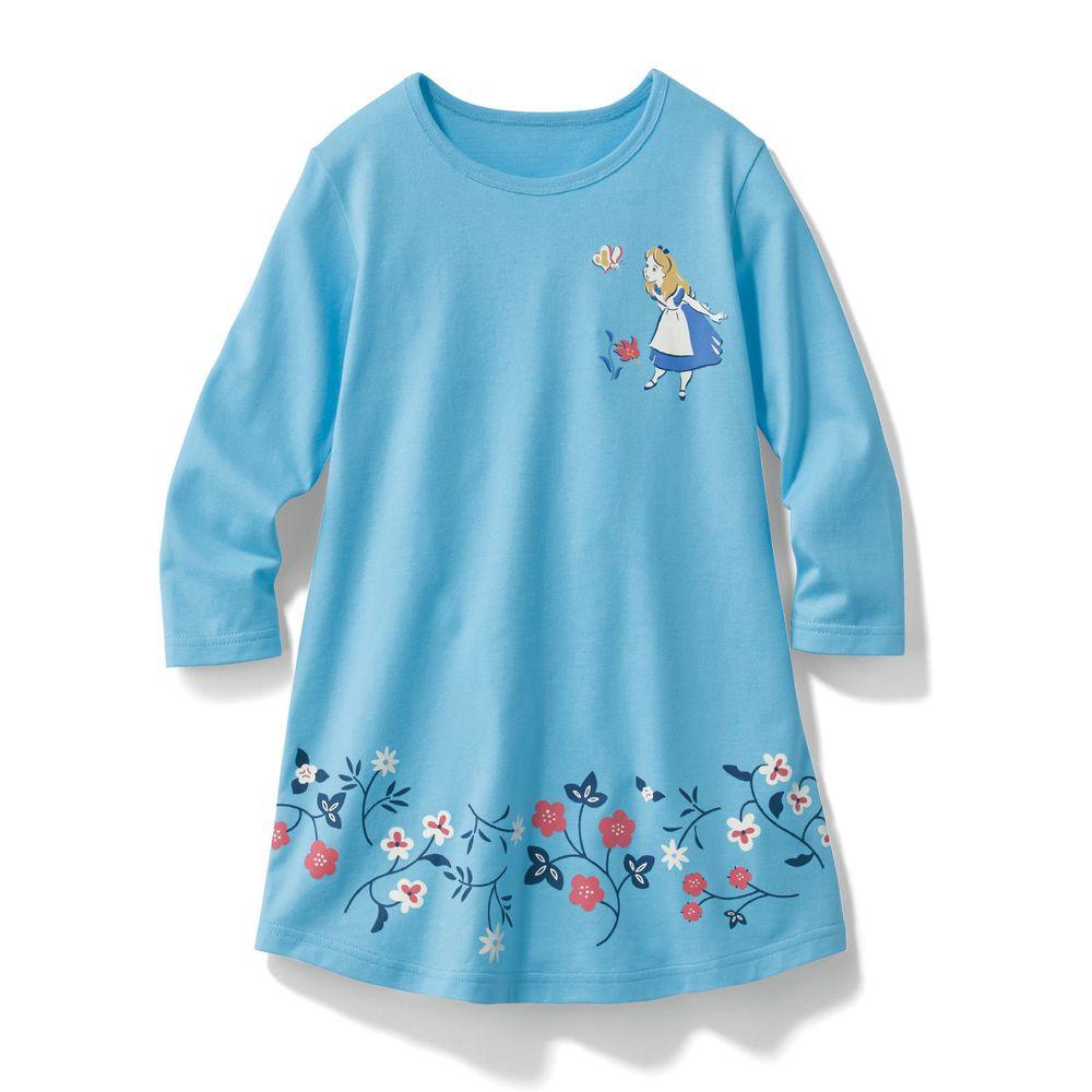 日本千趣會 - 迪士尼印花長袖洋裝-愛麗絲-水藍