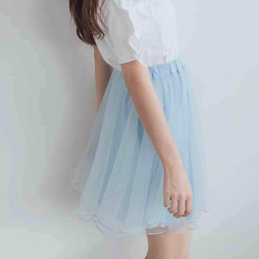 Peachy - 獨家訂製綿柔空氣紗裙-短裙款-Elsa冰藍 (F)
