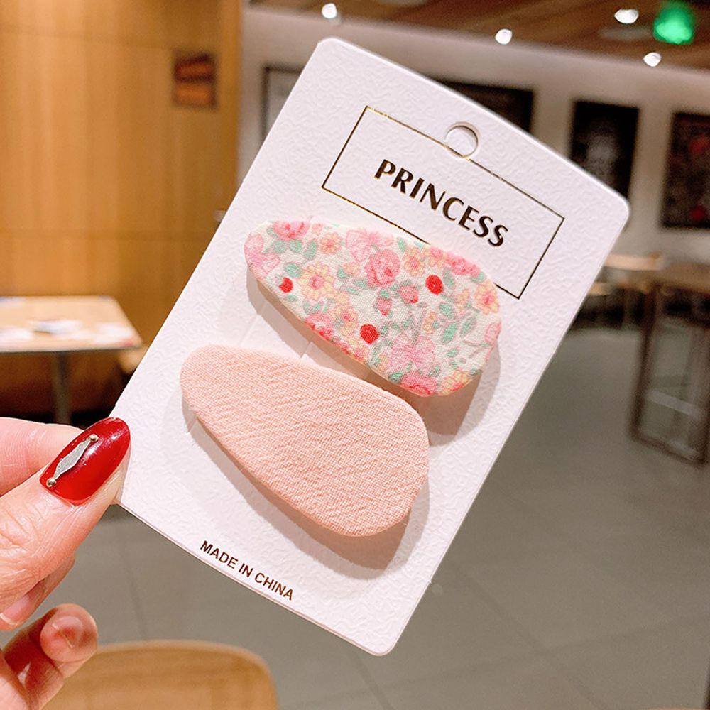 糖果色水滴型兒童髮夾2入組-粉色