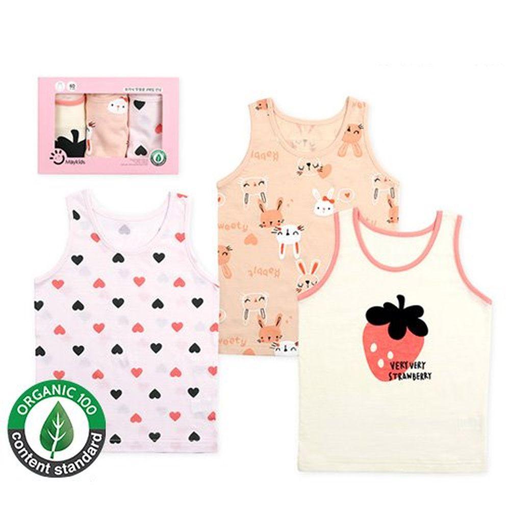 韓國 Maykids - 有機棉女寶內衣三入組-草莓兔子