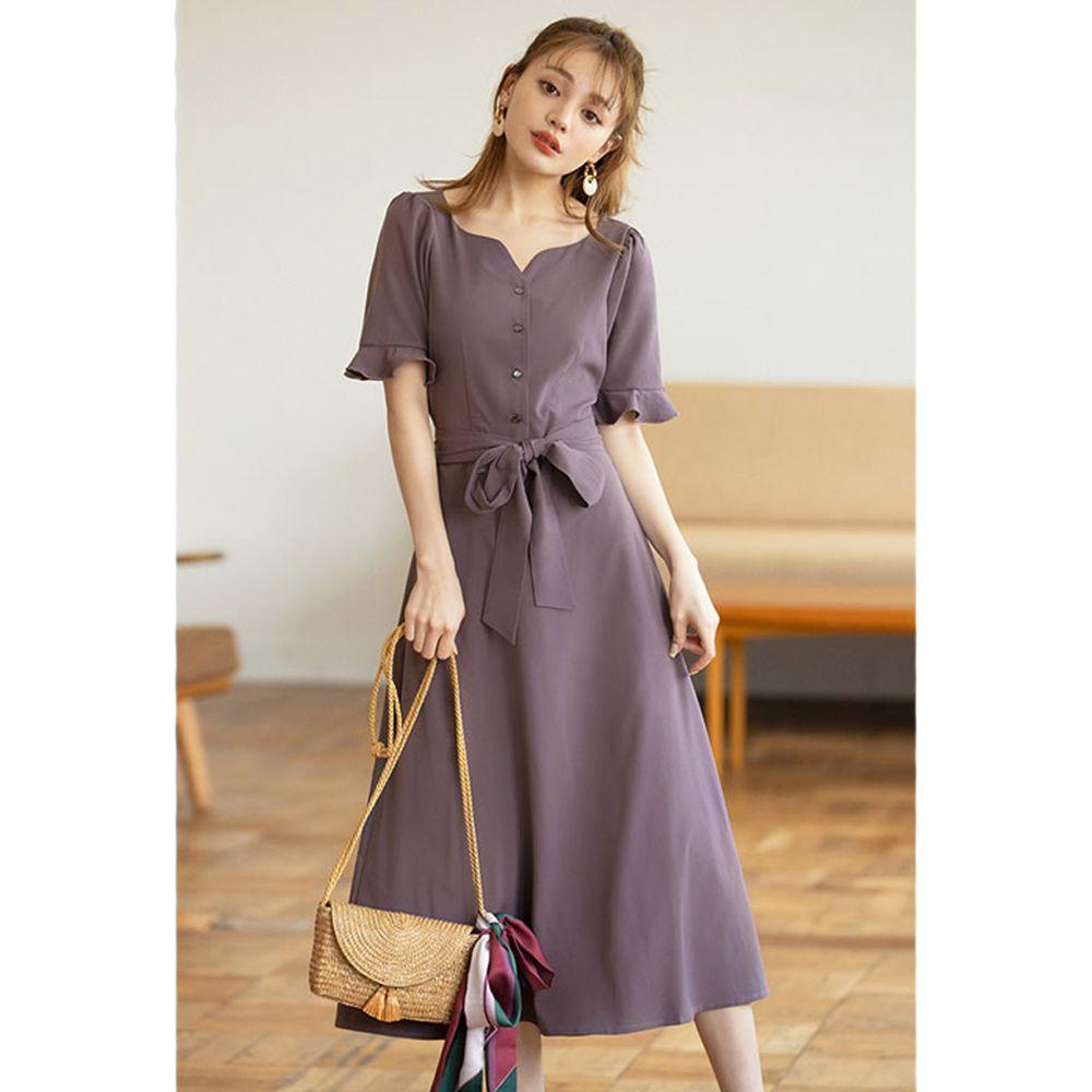 日本 GRL - 美背露腰蝴蝶結綁帶短袖洋裝-灰藕紫