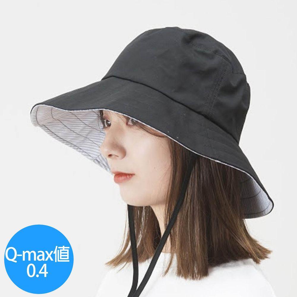 日本小泉 - UV cut 99% 涼感 大帽簷遮陽帽-撥水加工 素面-帥氣黑 (可調頭圍~58cm)