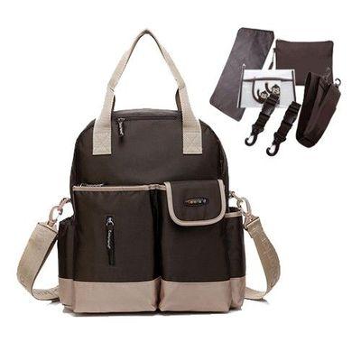 『一包四用款』大容量媽咪包-買一送五-咖啡色-五件組(車掛扣+濕物袋+隔尿墊+斜背帶+隨身物品包)