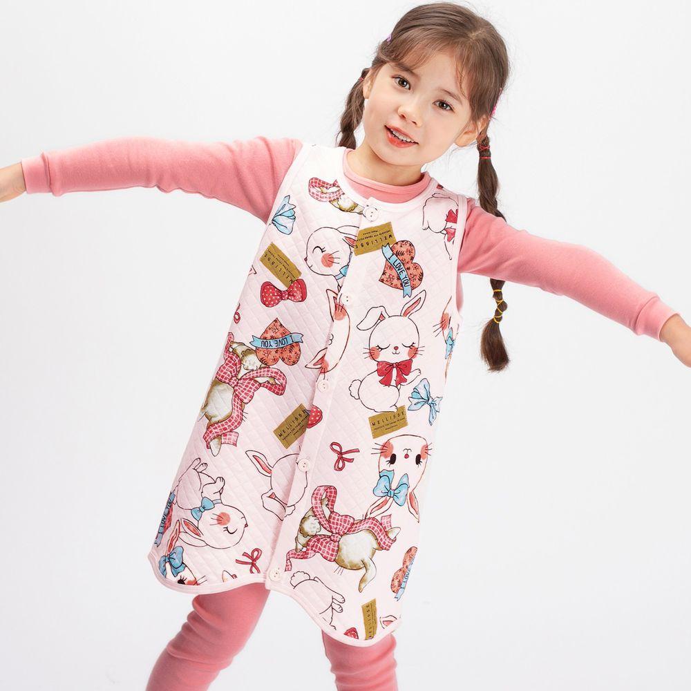 韓國 Mellisse - 韓製鋪棉保暖防踢被-緞帶兔兔
