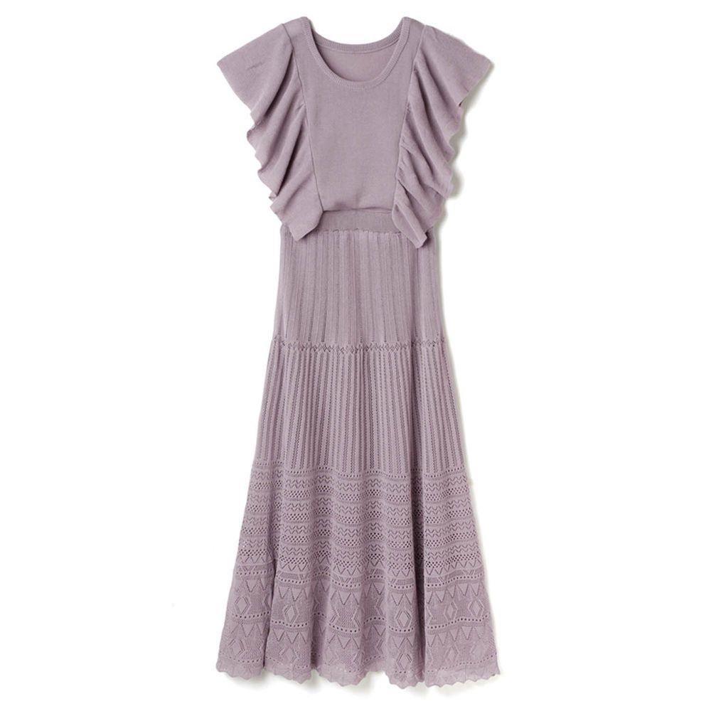 日本 GRL - 浪漫前後大荷葉無袖鏤空設計針織洋裝-薰衣草