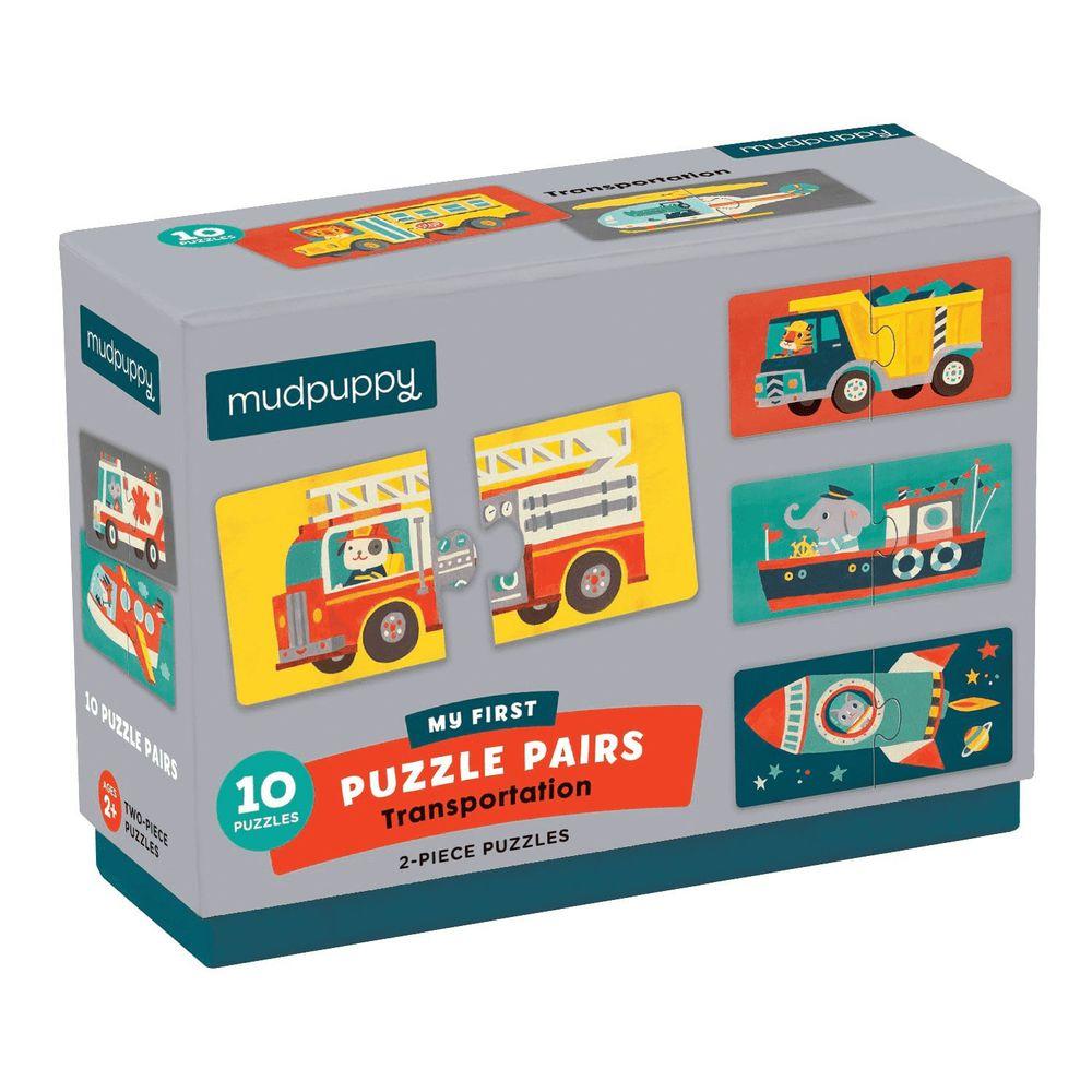 美國 mudpuppy - 配對拼圖系列-交通工具-20片