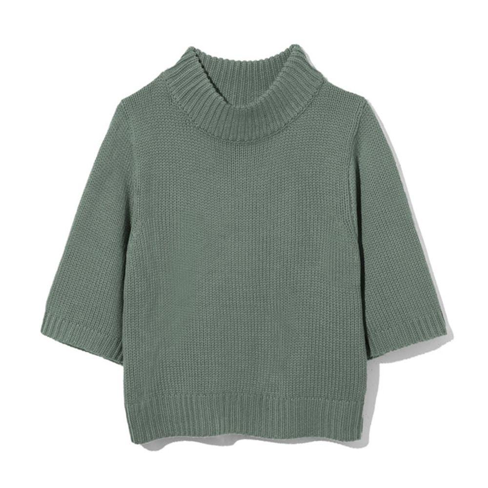 日本 GRL - 寬版顯瘦小高領七分袖針織上衣-綠