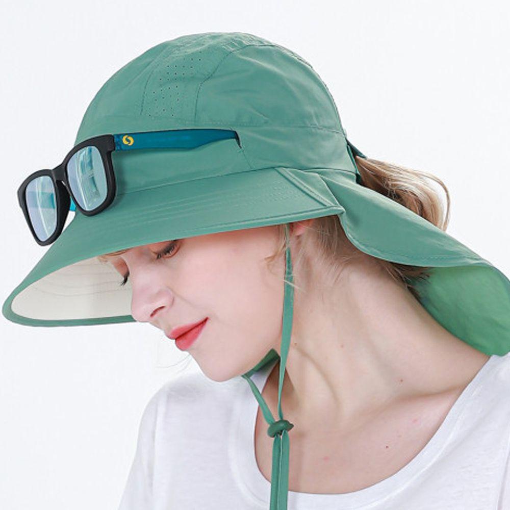 韓國 Beach Boom - (2020升級版)韓製UPF50+防水透氣遮脖帽-綠