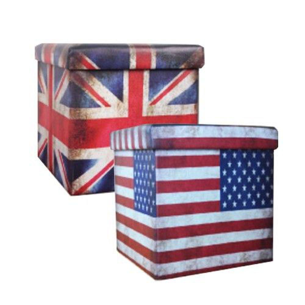 舒福家居 isufu - 座椅收納箱/穿鞋椅凳二入組-美式復古國旗風+英式復古國旗風-55L+55L
