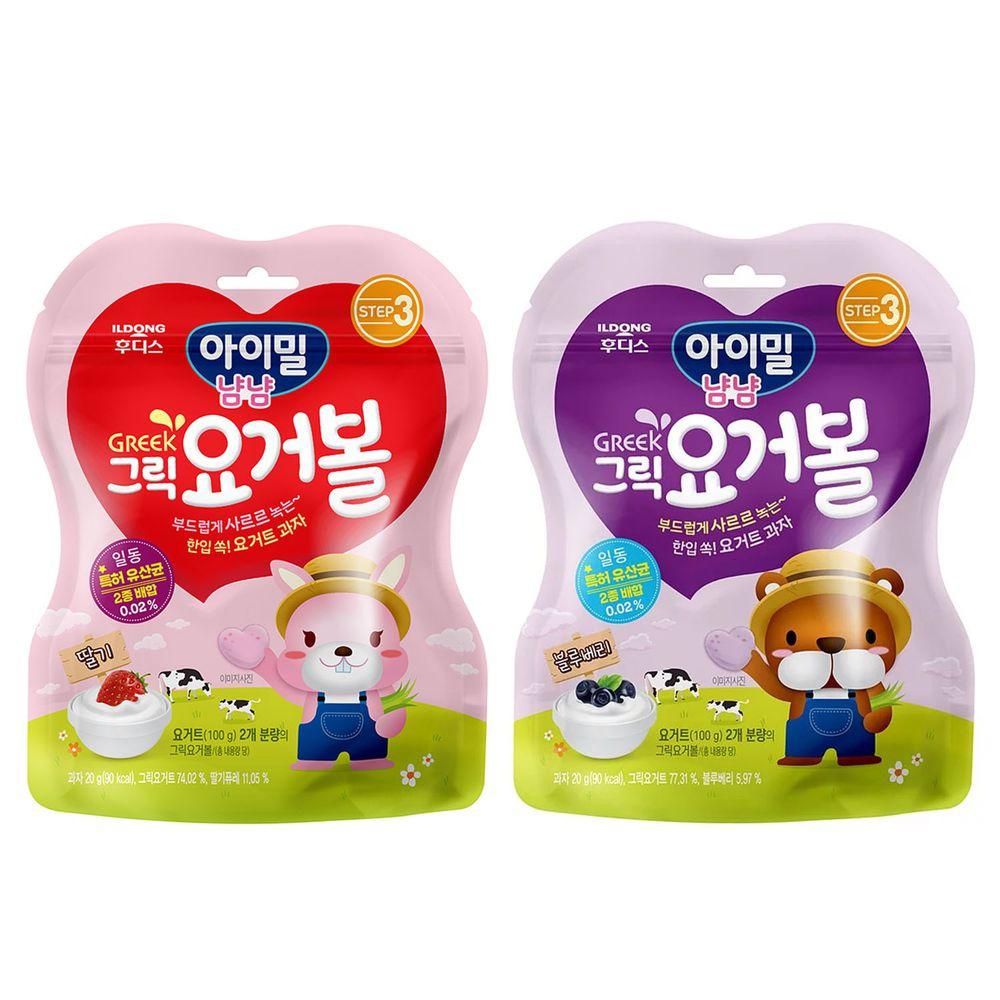 韓國Ildong Foodis日東 - 優格愛心餅2入組-草莓*1+藍莓*1