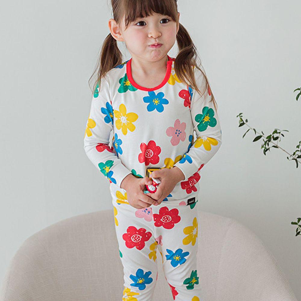 韓國 Cordi-i - 無螢光棉薄款長袖家居服-彩色花花