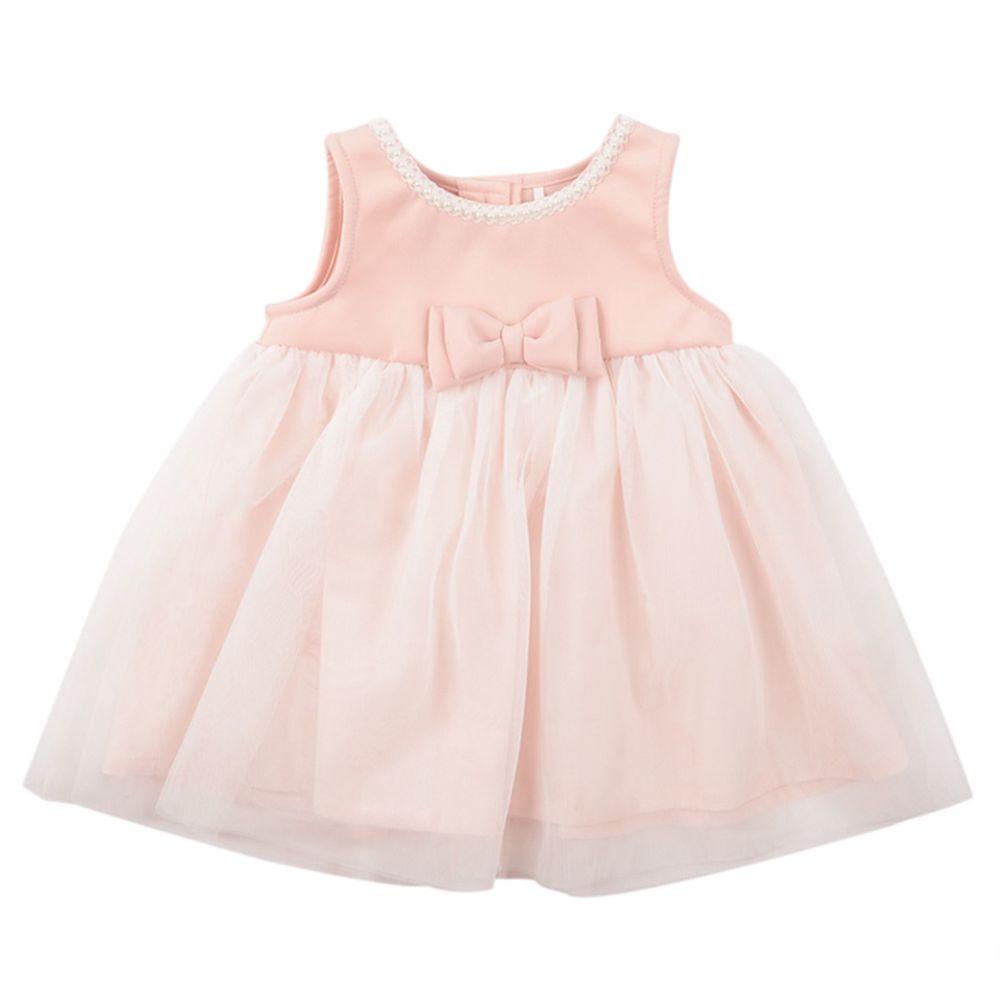akachan honpo - 珍珠裝飾洋裝-粉紅色