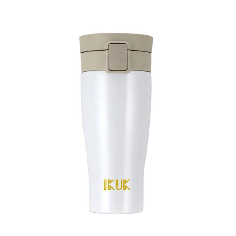 IKUK - 真空雙層內陶瓷保溫杯 大彈蓋-雪霧白-520ML