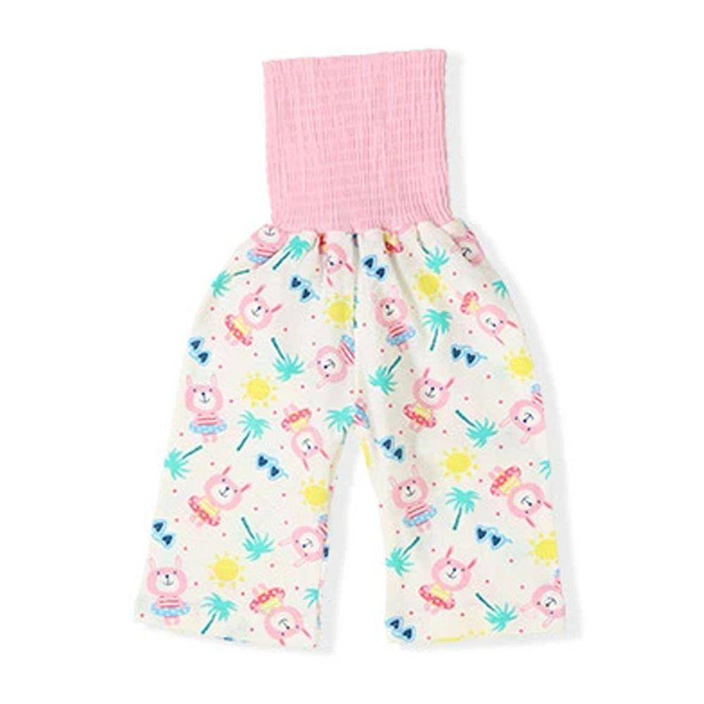 日本 ZOOLAND - 涼感 100%棉腹卷睡褲-渡假小兔-米