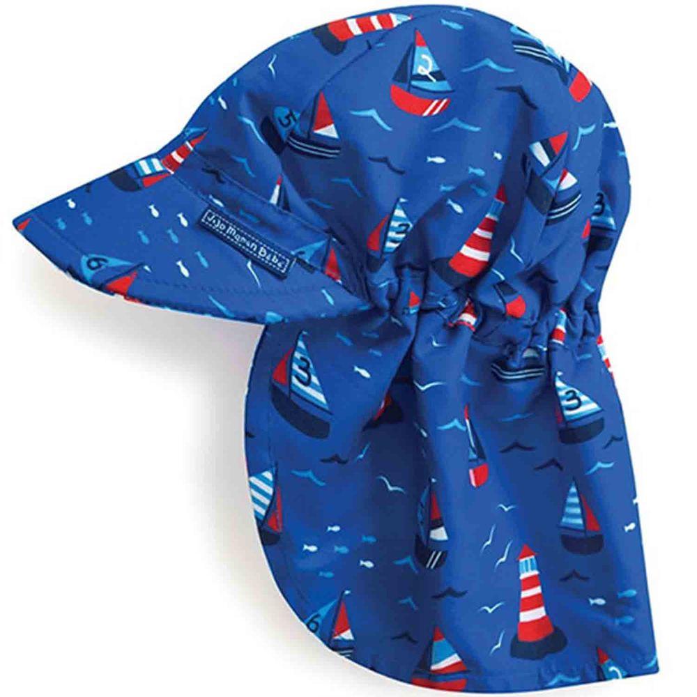 英國 JoJo Maman BeBe - 嬰幼兒/兒童UPF50+防曬護頸遮陽帽-帆船比賽
