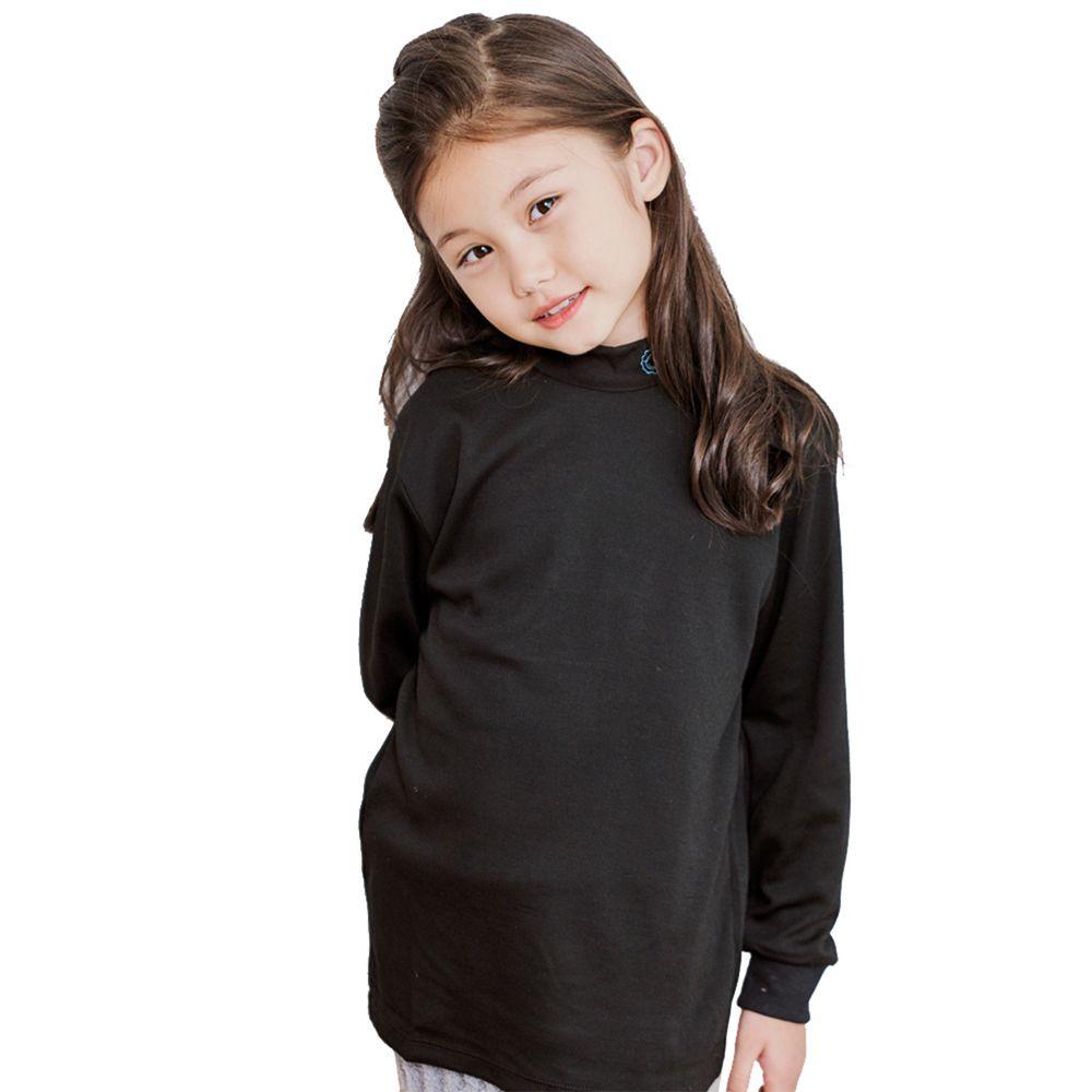 GIAT - 奶油獅保暖長袖上衣(立領)-黑色