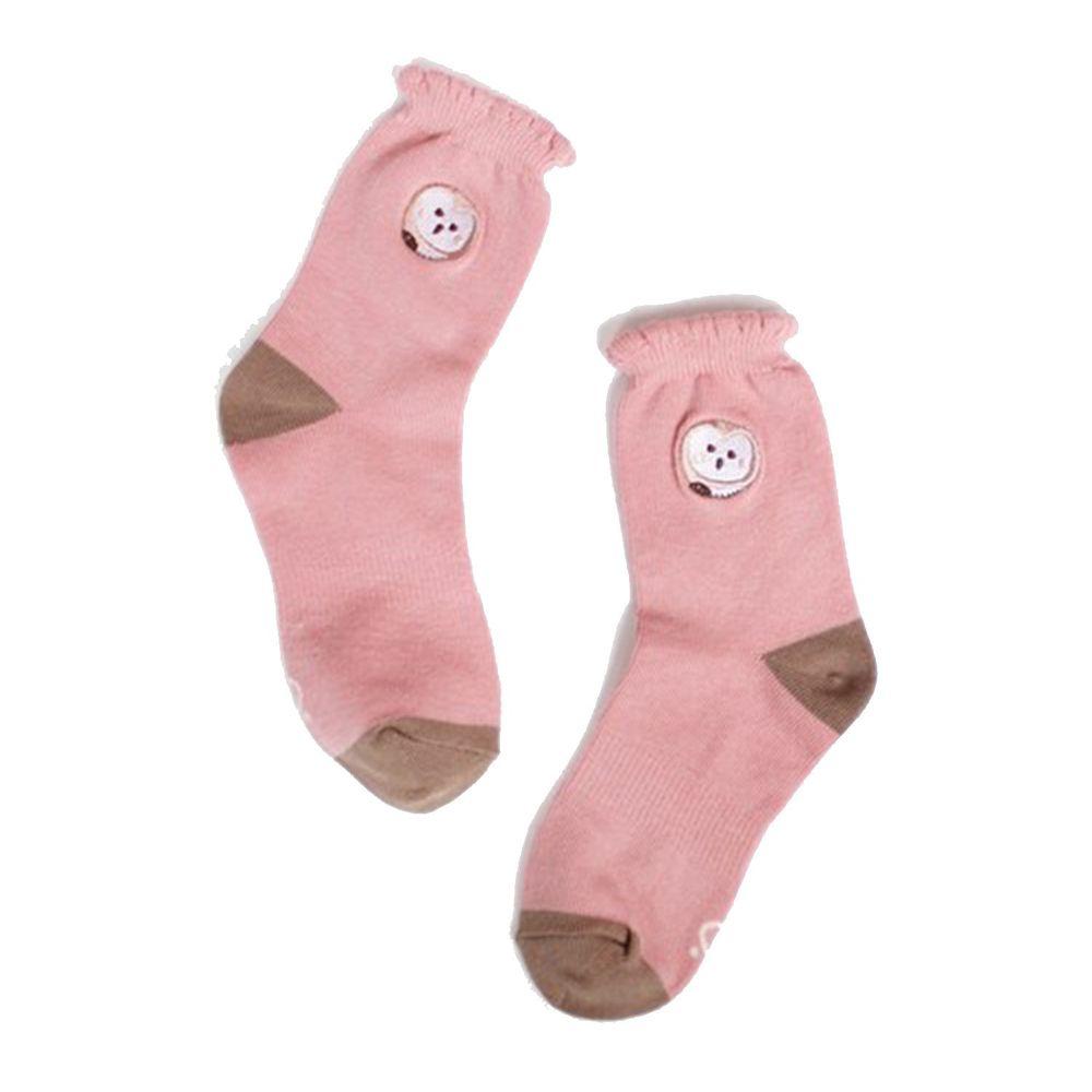 minihope美好的親子生活 - 花邊萊卡精梳棉襪-草鴞-粉紅