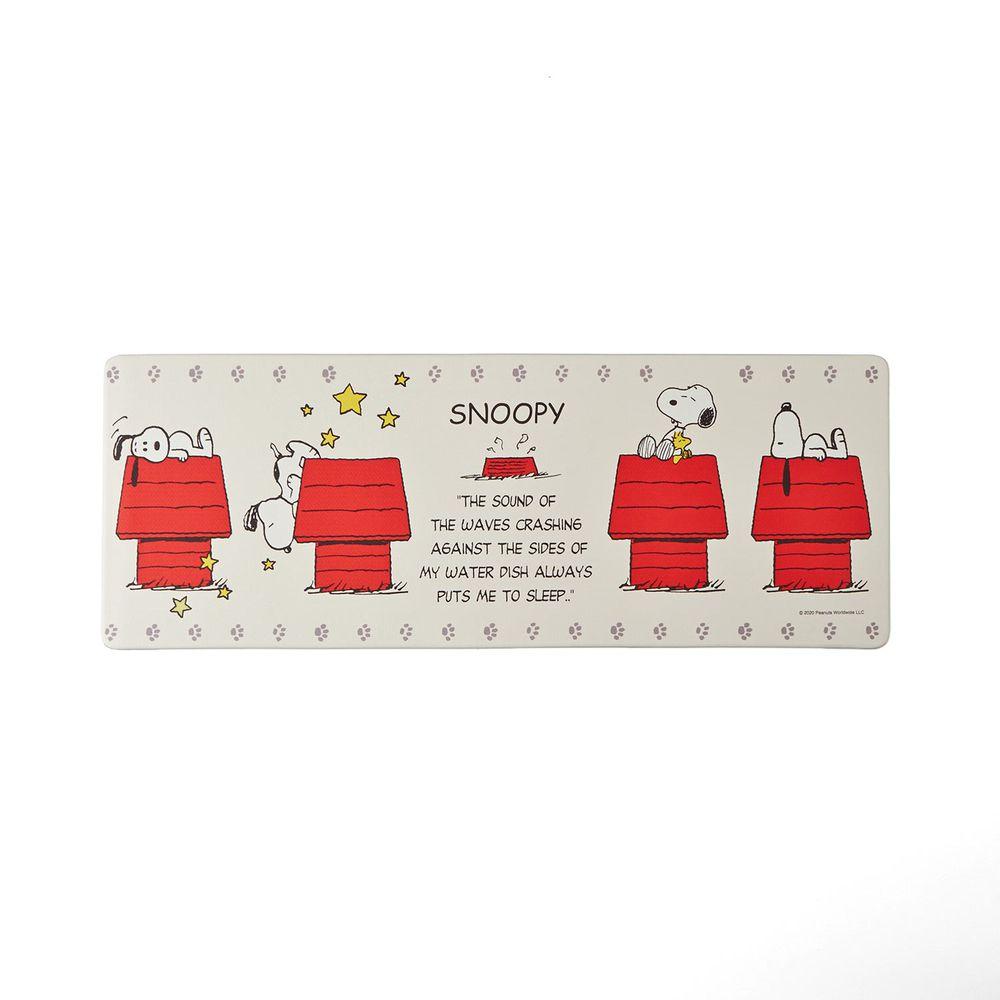 日本千趣會 - 史努比 易清潔 長條型腳踏墊(廚房/臥室)-紅色狗屋-米色系