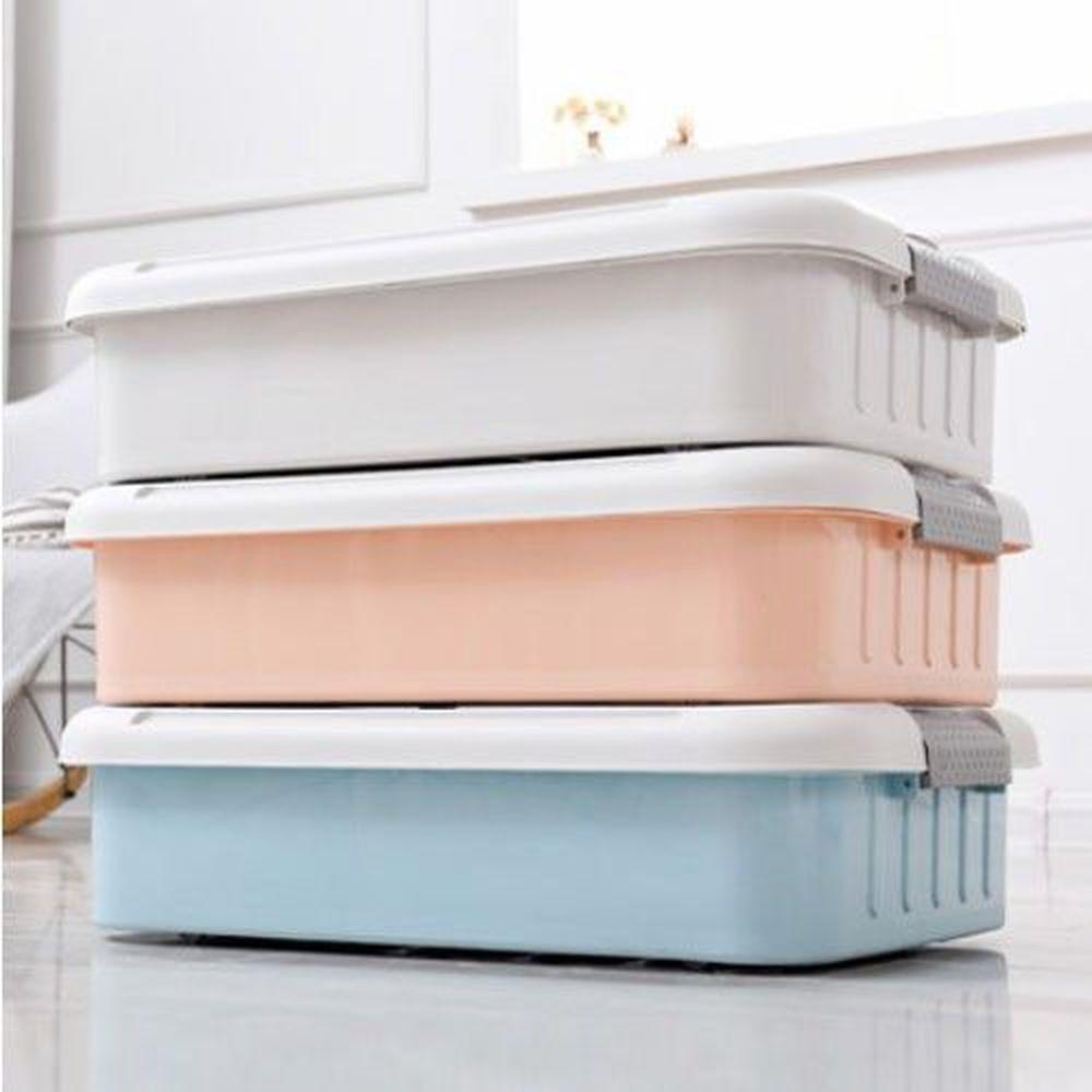 家窩 - 萊納床下掀蓋滑輪整理箱(DIY組裝)-粉藍/粉橘/灰白各1個-58公升/3入