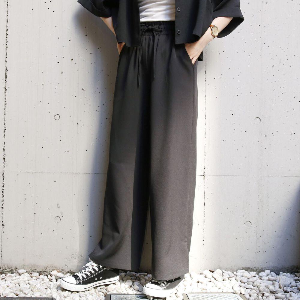 日本 Rejoule - 百搭小綁帶寬褲-黑