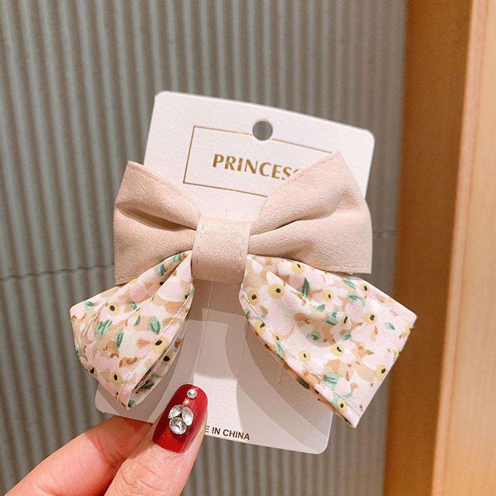 公主碎花大蝴蝶結髮夾-卡其