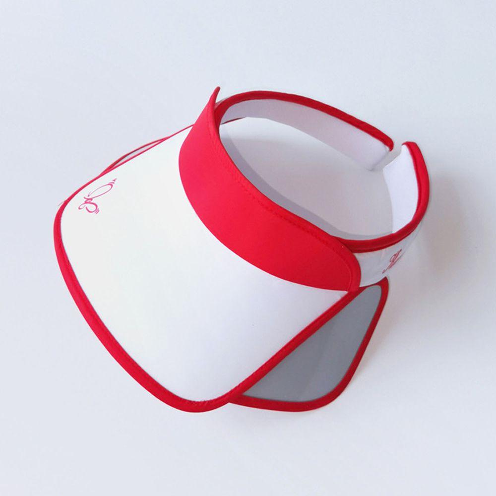 兒童大帽沿空頂遮陽帽-蝴蝶-紅色 (50-53cm)