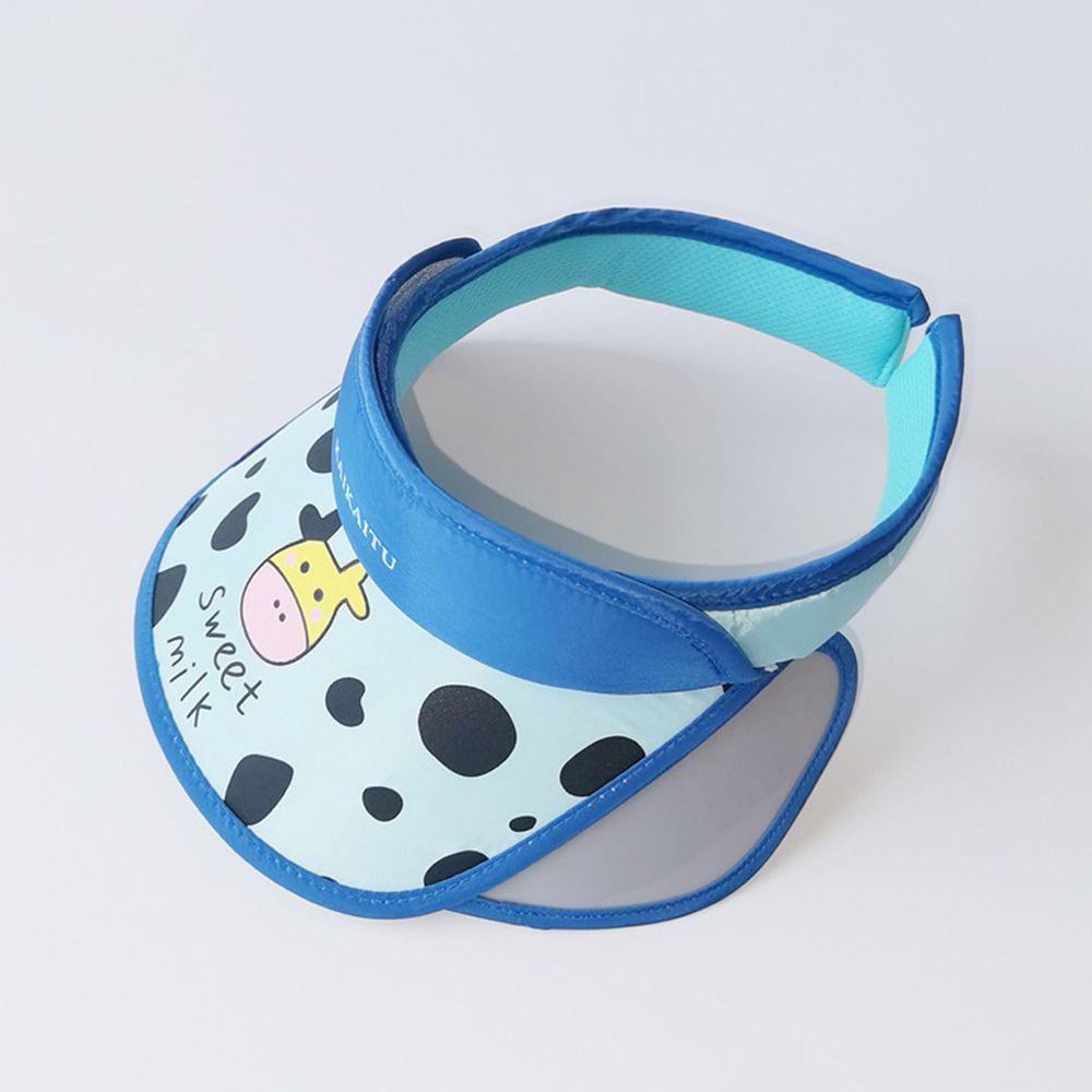 兒童大帽沿空頂遮陽帽-乳牛-藍色 (50-53cm)