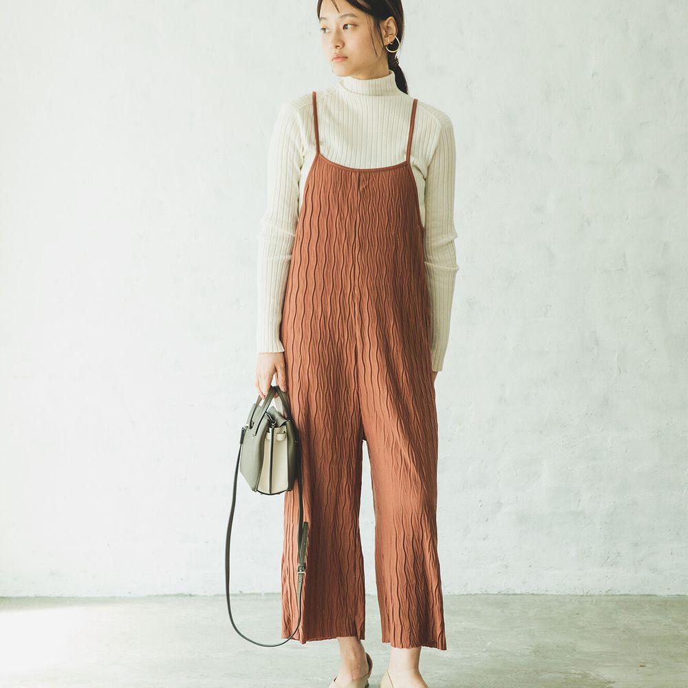 日本 PAIRMANON - 波浪紋細肩吊帶褲(媽媽)-咖啡 (FREE)