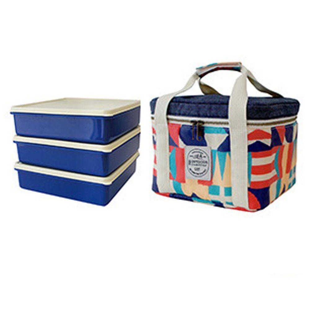 日本Bisque - 3件便當盒保溫保冷袋組-彩色方塊