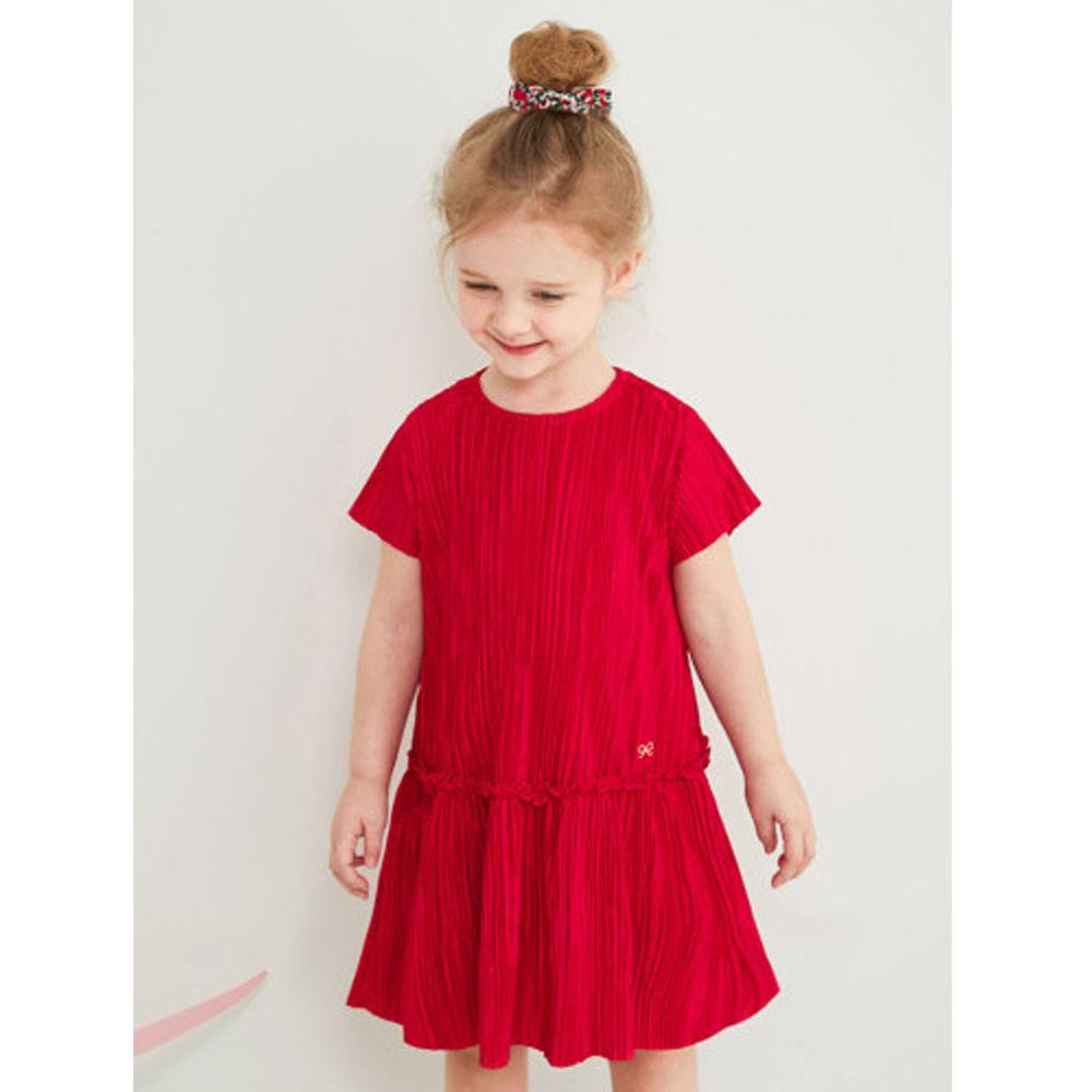 韓國 Jelispoon - (附髮圈)皺摺感拼接洋裝-紅