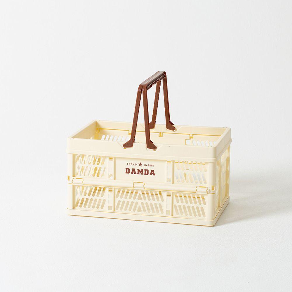 韓國 Damda - 折疊手提收納籃-中-象牙白-尺寸:38.5X25.3cm, 容量19L