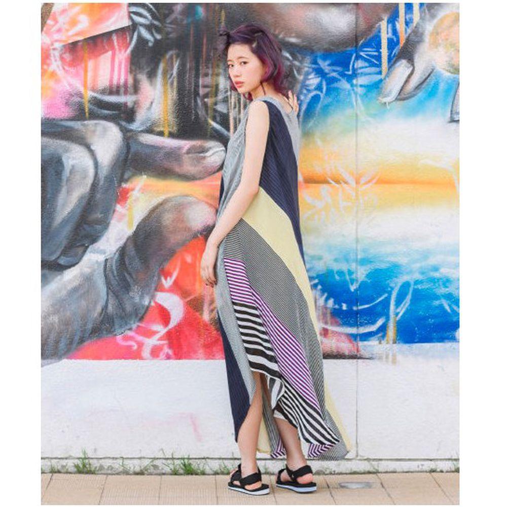 日本 zootie - 輕薄涼爽無袖不規則剪裁長洋裝-多層次線條-黃紫藍 (Free)