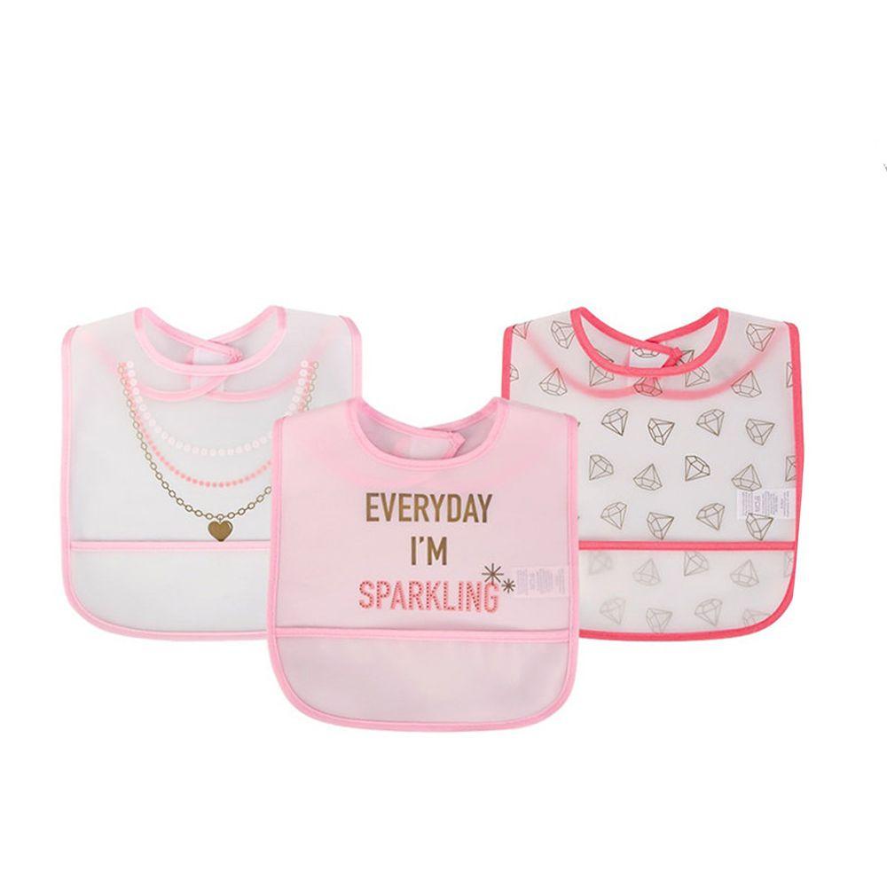 美國 Luvable Friends - 嬰幼兒雙面防水圍兜3入組-鑽石項鍊