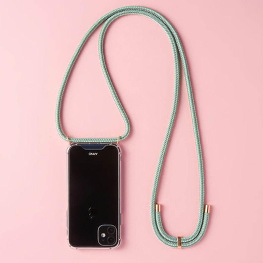 韓國 ARNO - 編繩背帶透明手機殼-薄荷綠