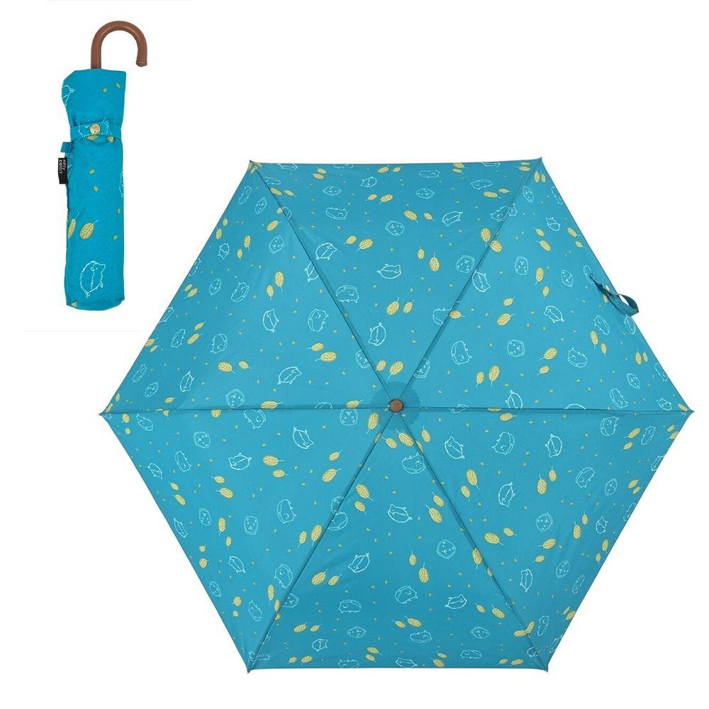 日本 nifty colors - 抗UV輕量 晴雨兩用折疊傘-刺蝟小森林-藍綠 (直徑90cm/168g)-80.0%