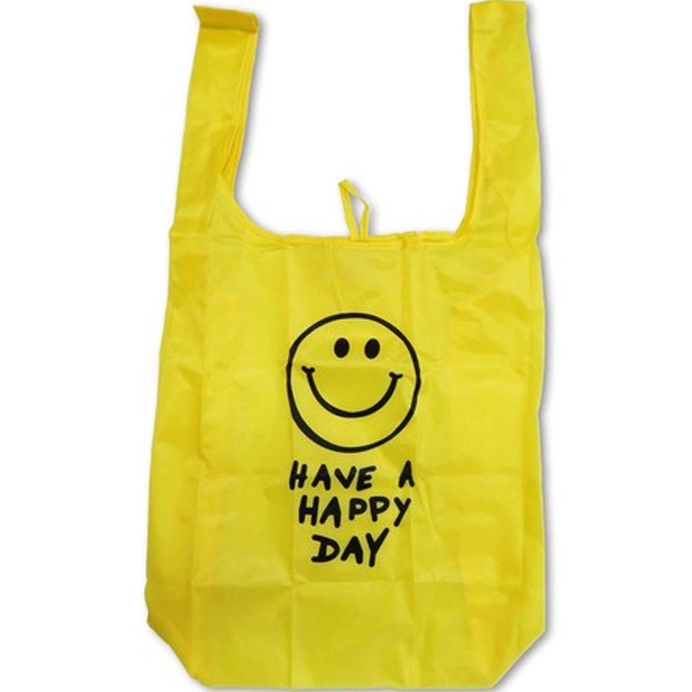 日本 OKUTANI - 折疊購物袋-笑臉-黃 (33x58cm)