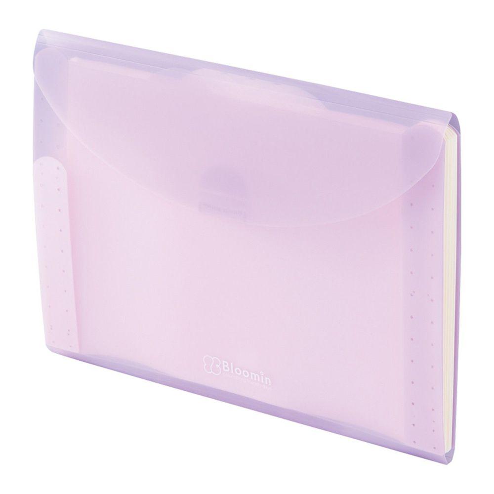 日本 LIHIT LAB - 外扣五層分層資料袋-A4-薰衣草紫
